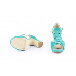 Elisa Milos sandalia con tacón ancho de carrete