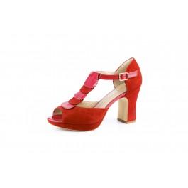 Elisa Pasión sandalia con tacón ancho de carrete