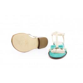 Juana Milos sandalia dorada con lazo