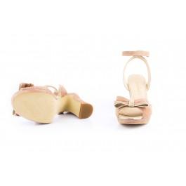 Julieta malva sandalia con lazo