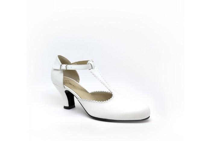 Mili Blanco Roto sandalia retro de boda