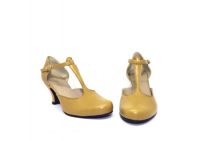 Mili Mostaza femenina sandalia retro