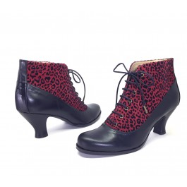 Bettie Leopardo Rojo Botines Pin Up