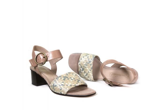Violeta Pastel sandalia trenzada