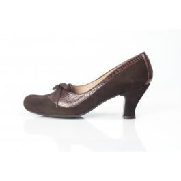 Aura Marrón Cocodrilo zapato de señora