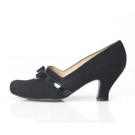 Lucía Negro zapato vintage con lazo