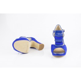 Elisa Campanula sandalia con tacón ancho de carrete