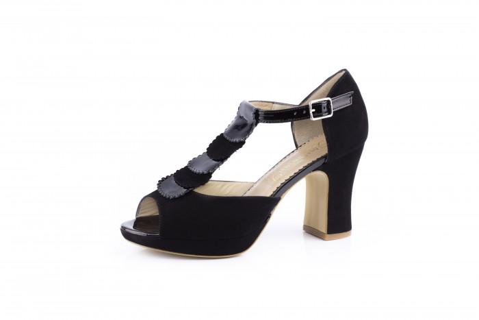 Eisa Negro sandalia con tacón ancho de carrete