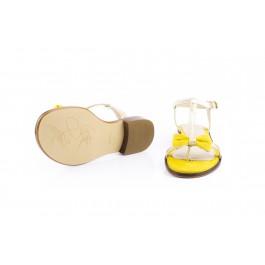 Juana Girasol sandalia dorada con lazo