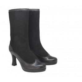 Natalia Plat. Negro botas altas con plataforma