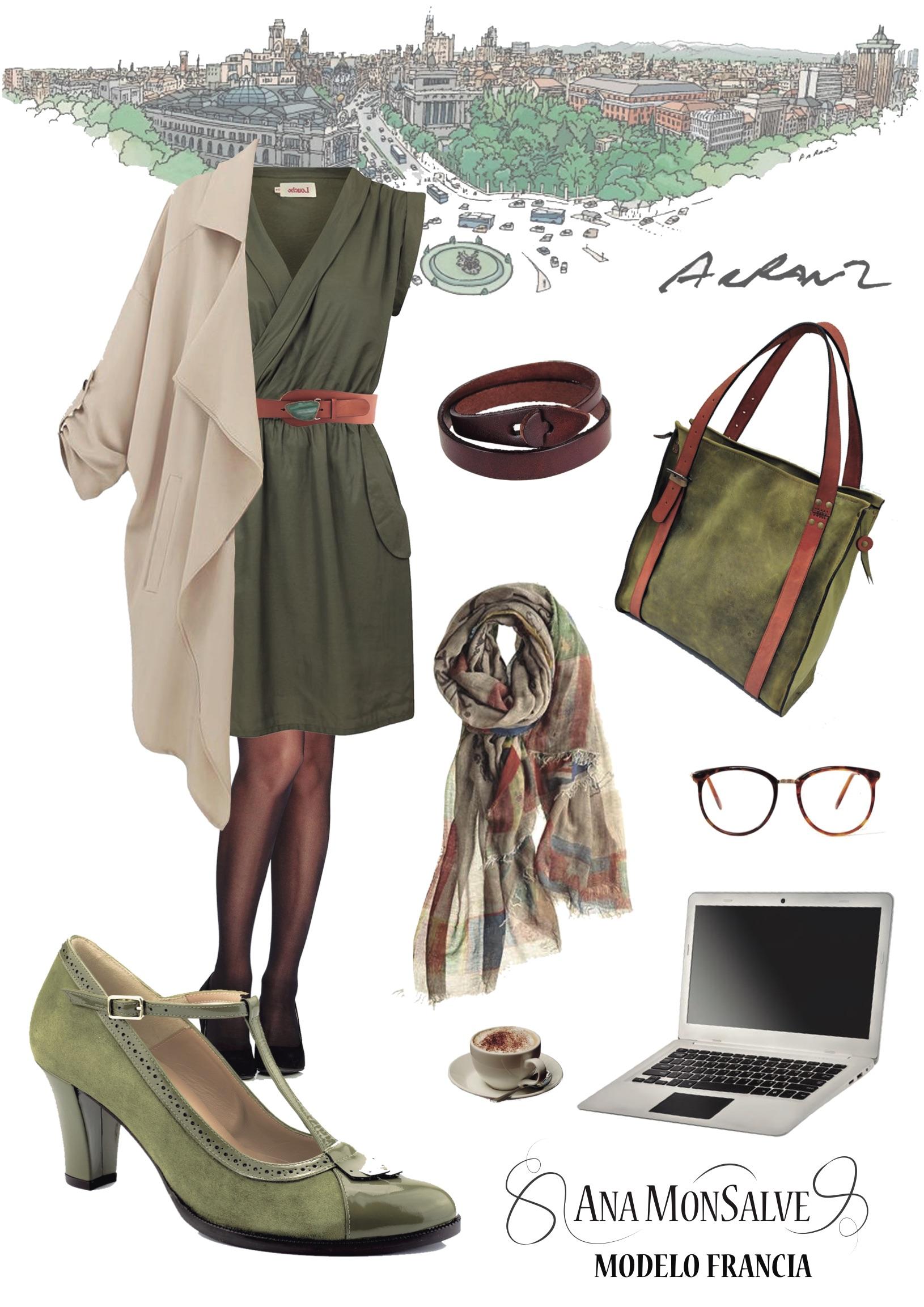 zapatos vintage verde olivo